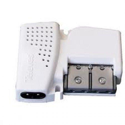 Amplificador de vivienda UHF hasta 20dB + VHF hasta 12dB, 1 entrada, 2 salidas Plug & Play Pikokom Televes 5605 con alimentación de previos 12V, 150mA. ¡Tamaño reducido!