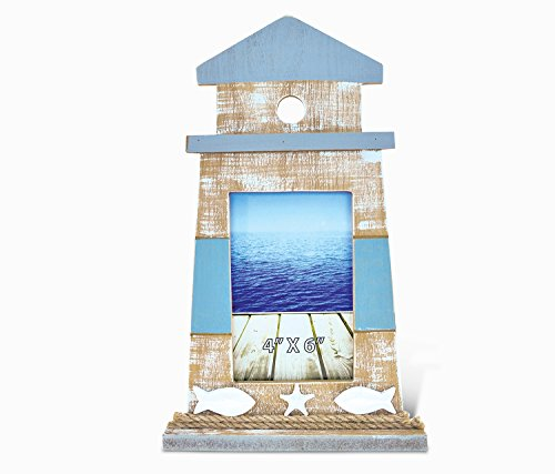 "Puzzled Wooden ""Lighthouse Shape"" Picture Frame, 4 x 6 Inch Sculptural Wood Photo Holder Intricate & Meticulous Detailing Art Handcrafted Tabletop Accent Accessory Coastal Nautical Themed Home Décor"