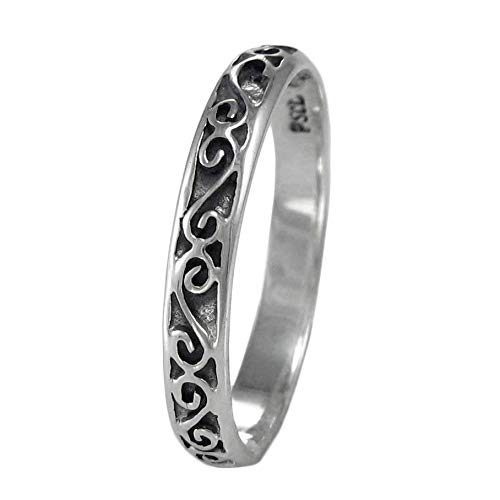Narrow Sterling Silver Celtic Motif Band Ring for Men or Women (available 4-15) sz 8