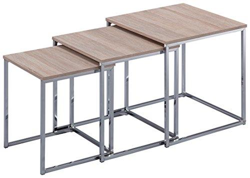 Esidra 9332 – 03 Lot de 3 Tables gigognes, Acier chromé, Beige, 40 x 40 x 42 cm