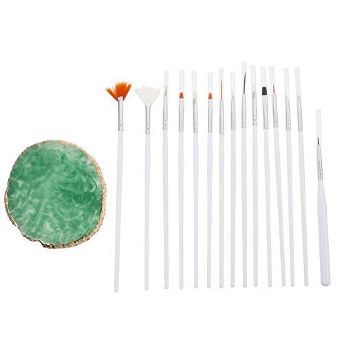 FRCOLOR 15Pcs Nail Art Brush Set for Detailing Blending, Acrylic Nail Brushes with Nail Gel Polish Palette Tray for Women Teens Nail Design
