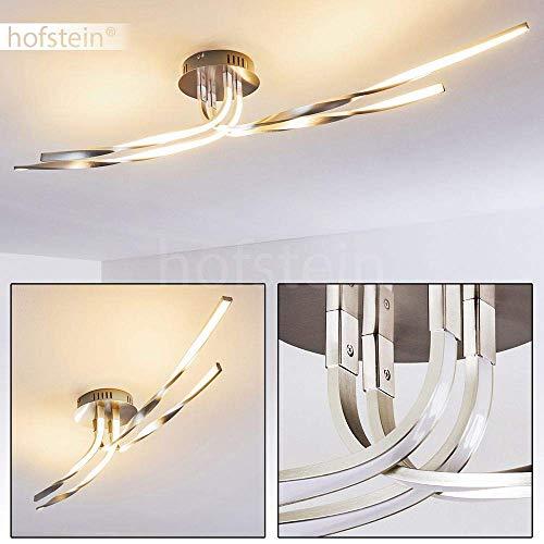 LED plafondlamp Remo, plafondlamp van metaal/kunststof in nikkel mat/wit in golfvorm met gedraaide lichtstroken, 40 Watt, 2000 Lumen, lichtkleur 3000 Kelvin (warm wit)