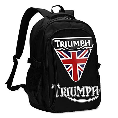 EDGHUOEIH Triumph Moto Moda Outdoor Zaino Durevole Impermeabile Zaino Da Viaggio Zaini Bookbag con Porta di Ricarica USB/Auricolare