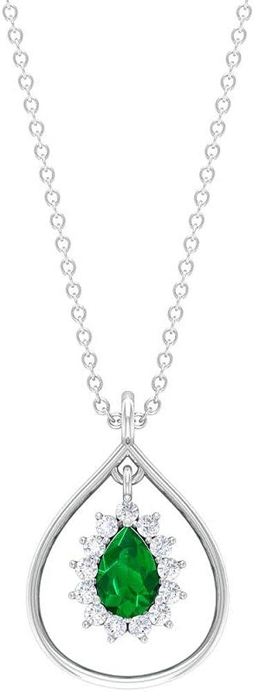 Vintage Teardrop Pendant, 0.45 CT 4X6 MM Solitaire Emerald Pendant, HI-SI Diamond Halo Necklace, Wedding Necklace, Pear Shape May Birthstone Pendant