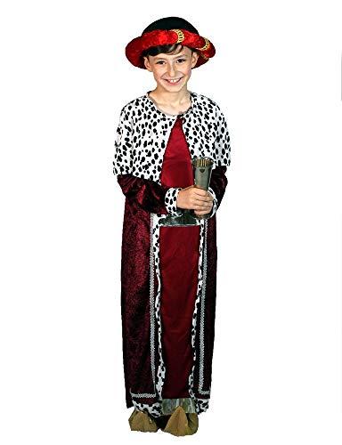 Karabu Costume re magio Rosso Bambino Gaspare con Copricapo e Copriscarpe