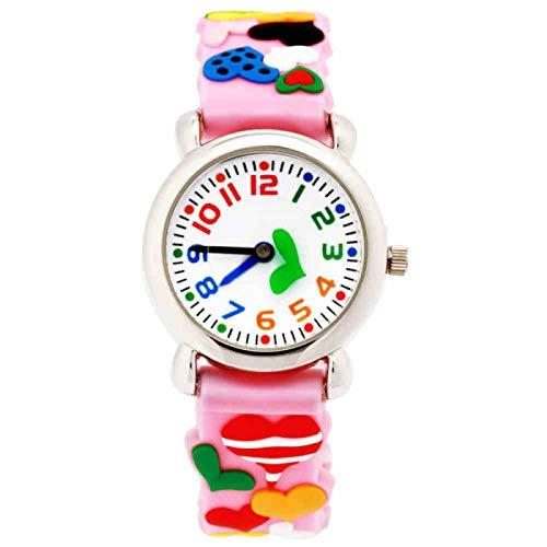SFBBBO Reloj niño Relojes para niños Correa de Moda Reloj para niños Regalo para Estudiantes Reloj de Pulsera de Silicona 3D Reloj de Mano de Dibujos Animados Rosa