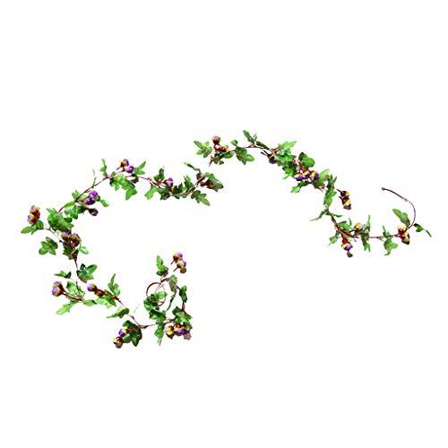 homozy Fake Greenery Leaf Garland Plants Vine Foliage for Wedding Party Decor - Purple, 2.3cm
