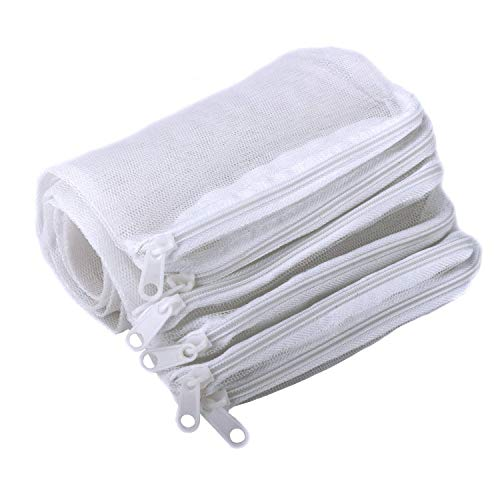 Segarty Filter Media Bags, 10PCS 11.7x7.8 Inch Aquarium Nylon Mesh Bags with Plastic Zipper, Fish Tank White Net Bags for Pellet Carbon, Bio Balls, Ceramic Rings, Ammonia Remover