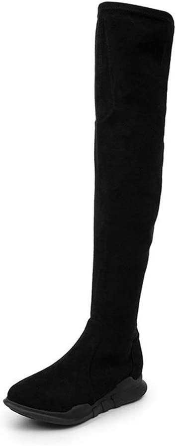 Sexy Drawstring Stretch Boots Flat Low