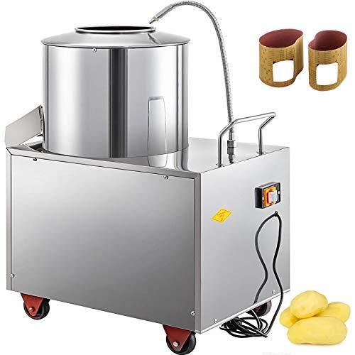 VBENLEM Electric Potato Peeler 110V 1500W Commercial Potato Peeler 15-20KG 20 minutes/time Potato Peeler Machine with Caster Wheels Stainless Steel Peeler Washer for Potato Taro Ginger