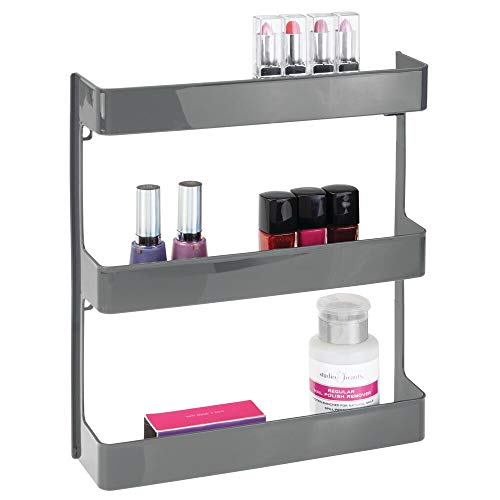 mDesign Plastic Wall Mount, 3 Tier Storage Organizer Shelf to Hold Vitamins, Supplements, Aspirin, Medicine Bottles, Essential Oils, Nail Polish, Cosmetics - Large Capacity - Charcoal Gray