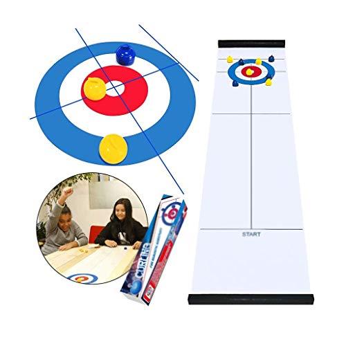 YYL Schnelles Sling Puck Spiel Tabletop Curling-Spiel Familienspaß Brettspiele Shuffleboard Pucks mit 8 Rolllers Geschenken für Kinder und Erwachsene Travel Compact