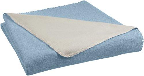 AmazonBasics - Fleecedecke, 150 x 200 cm, Spa-Blau/Taupe