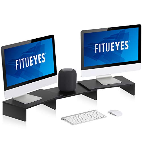 FITUEYES Dual Monitor Stand – 3 Shelf Computer Monitor Riser, Wood Desktop Stand with Adjustable Length and Angle, Desk Accessories, Office Supplies, Black, DT108001WB