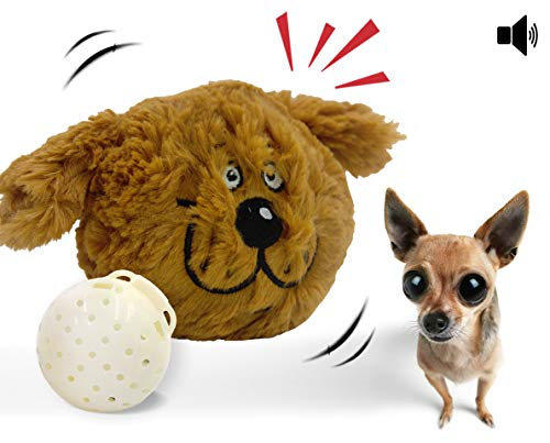 Dog Toy Interactive Plush Squeaky Electric Pet Toys, Battery Operated Auto Moving Ball, for Prevent Boredom (Doggy)