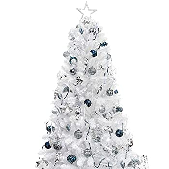 KI Store 7ft Artificial Christmas Tree with Ornaments and Lights White Christmas Decorations Including 7 Feet Full Tree 135pcs Ornaments 2 pcs 59ft USB Mini LED String Lights