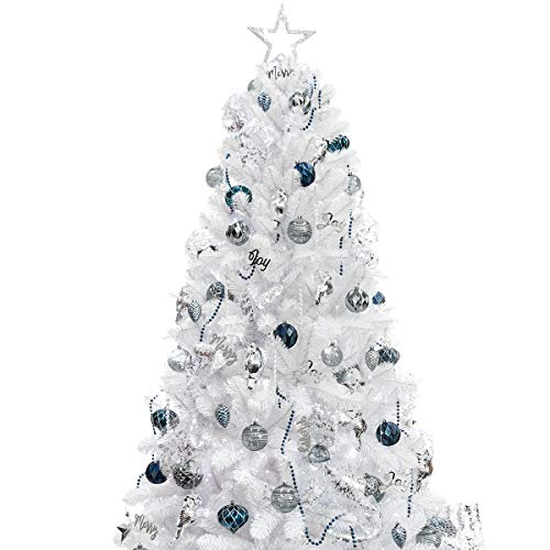 KI Store 6ft Artificial White Christmas Tree with Ornaments and Lights Blue Christmas Decorations Including 6 Feet Full Christmas Tree, 105pcs Ornaments, 2pcs 39ft USB Mini LED String Lights