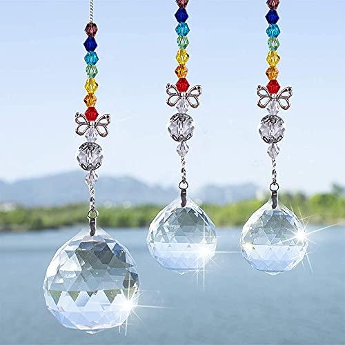NAUXIU 3 Colgantes de Cristal Decorativos,Prismas Arco Iris Colgante,Cristal Colgante para Ventana,Adecuado...
