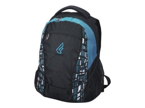 LIGHTPAK Fanatic Rucksack Polyester schwarz-blau Hauptfach mit gepolstertem Laptopfach gepolstertre Tragegurte wasserdichter Boden