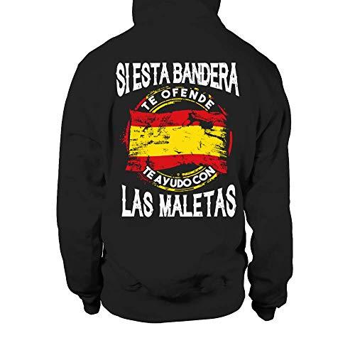 TEEZILY Sudadera con Capucha Unisex Si Esta Bandera te ofende te ayudo con Las Maletas - Negro - XL
