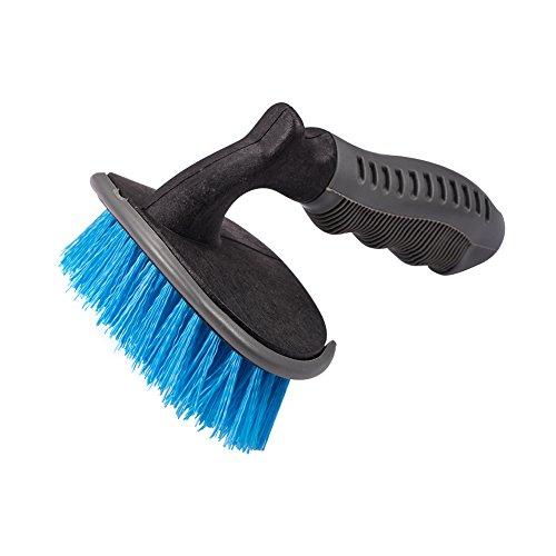 Jscarlife Jante de roue de voiture et brosse/incurvée Brosse de nettoyage pour Cravate Auto Moto Roue de vélo Home Outil de nettoyage Bleu