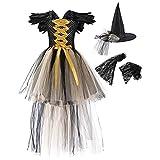 OBEEII Disfraz de Malefica Niñas Deluxe Maleficent Christening Gown Fancy Dress Costume para Halloween Cosplay Carnaval Disfraces Dorado 6-7 Años