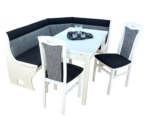 Heinz Hofmann Eckbankgruppe 4-teilig, wechselseitig montierbar, mit Auszugtisch, weiß, Bezug schwarz/grau Gemustert, ca. 125 x 165 cm