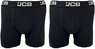 JCB Mens Boxer Trunks Cotton Rich A Front Pouch Black 2 Pack