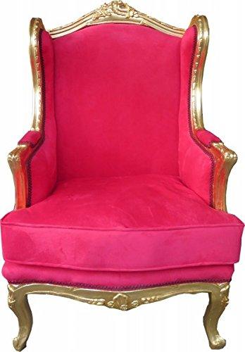 Casa Padrino Barock Lounge Thron Sessel Rot/Gold - Ohren Sessel - Ohrensessel Tron Stuhl