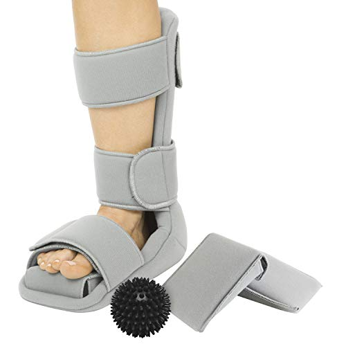 Vive Plantar Fasciitis Night Splint Plus Trigger Point Spike Ball - Soft Leg Brace Support, Orthopedic Sleeping Immobilizer Stretch Boot (Large: Men's: 8.5 - 11, Women's: 10 - 12)