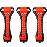 Car Safety Hammer Set of 3 Emergency Escape Tool Auto Car Window Glass Hammer Breaker and Seat Belt Cutter Escape 2-in-1 for Family Rescue & Auto Emergency Escape Tools (3 PCS)