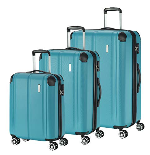 """Travelite Leicht, flexibel, sicher: """"City""""-Hartschalenkoffer für Urlaub und Business (auch mit Vortasche) Koffer-Set, 77 cm, 231 Liter, Petrol"""