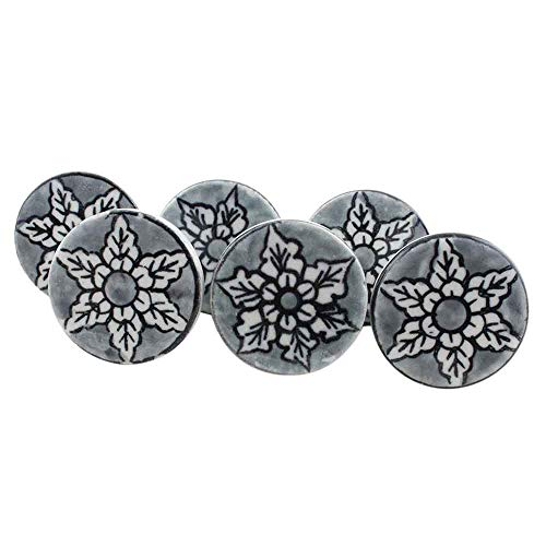 IndianShelf Handcrafted Assorted Pack of 10 Artistic Mix Vintage Combo Flat Grey Knobs Drawer Knobs Handles Ceramic Cabinet Dresser Pulls Designer Gift