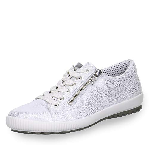 Legero 8-00818 Damen Schnürschuh aus Veloursleder mit Reißverschluss Weite G, Groesse 38, weiß/metallic