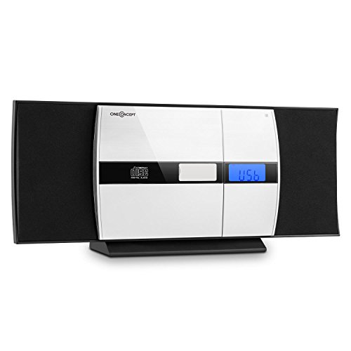 oneConcept V-15 Kompaktanlage mit MP3-fähigem CD-Playe - Special Edition, Stereoanlage, Microanlage, Weckfunktion, Aluminium-Blende, USB, AUX-IN, UKW, Fernbedienung, Wandmontage, schwarz