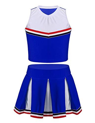 Freebily Enfants Filles Tenu Pom-Pom Girl Uniforme Scolaire Gilet + Jupe Plissée Ensemble Costume Danse Gym Jazz Spectacle Cosplay 3-14 Ans Blue 7-8 Ans
