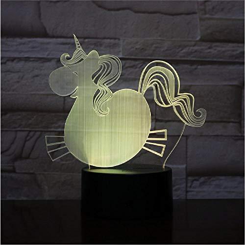 3D LED Lamp Nachtlampje Mooie Grote Buik Eenhoorn Paard Lampje Partij Decoratie Kerstmis Gift Cartoon Afstandsbediening Telefoon Bluetooth Controle Kleur