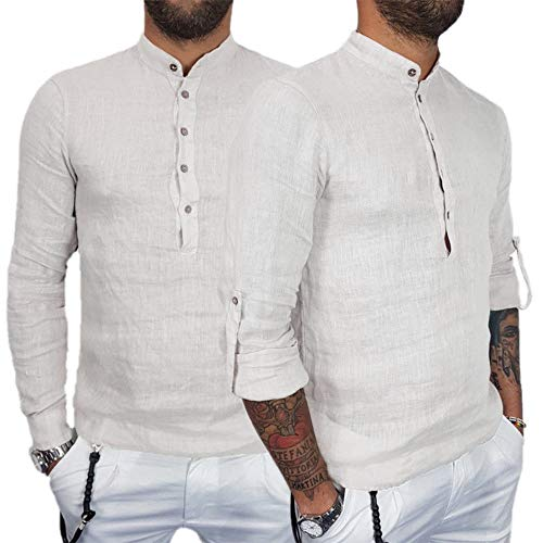 YunYoud Herren einfarbig Baumwolle und Leinen Langarm-Top Coole Hemden schöne männer günstige Moderne Hemd ohne Kragen Herren Business modische herrenhemden baumwollhemd