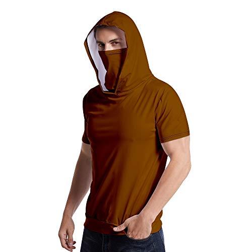 Rugby clothing boutique Q Beiläufiges Breathable T-Shirt + M-a-sk kurzärmelige mit Kapuze, Sport-Shirt mit eingebauten in Staubdichtes Sonnenschutz M-a-sk (Color : Coffee, Size : 4XL)
