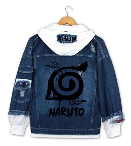 Cosstars Anime Naruto Hoodie Denim Jacket Cosplay Kostüm Jeansjacke Outwear Sweatshirt Pulli Mäntel Dunkelblau/2 S