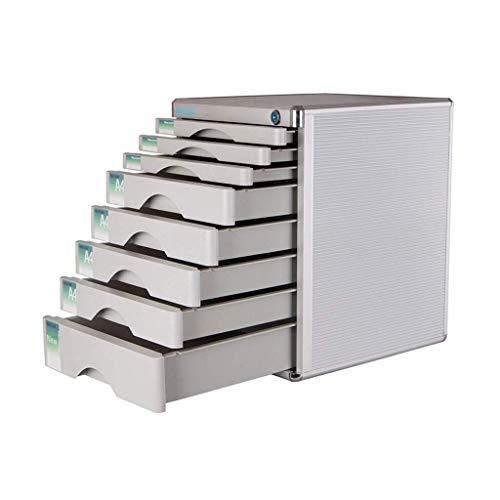 Archivador plano Archivadores, 8 Capas de sobremesa A4 de Papel con la Cerradura de múltiples Capas de plástico Oficina de Tipo cajón de Almacenamiento de Archivos Caja de Color-Plata