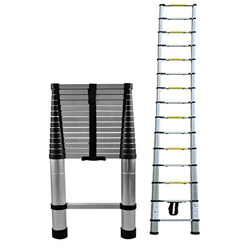Escalera telescópica de aluminio antideslizante de 4,4 m, multiusos, altura ajustable, 150 kg, bloqueo automático