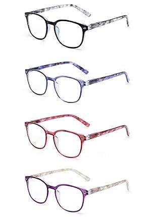 JM Gafas de Lectura Conjunto de 4 Calidad Bisagras de Resorte Hombre Mujer Anteojos Para Leer +2.5 Color Mixto