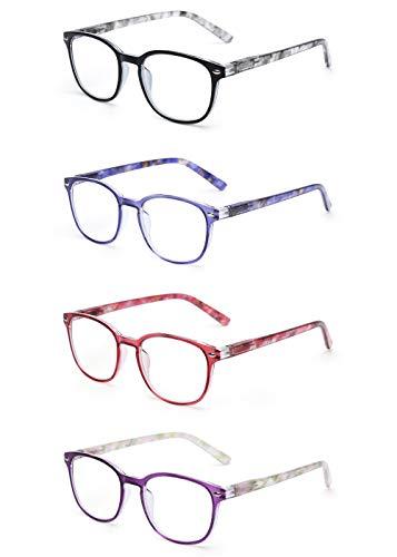 JM Lesebrille Satz von 4 Qualität Federscharnier Leser Damen Herren Brille Für Lesen +4.0 Mischfarbe