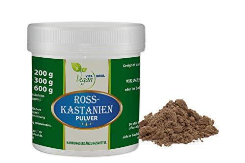 VITAIDEAL VEGAN® Rosskastanien-Früchte Pulver (Aesculus hippocastanum) 200g, inklusive Messlöffel, rein natürliches Pulver ohne Zusatzstoffe.