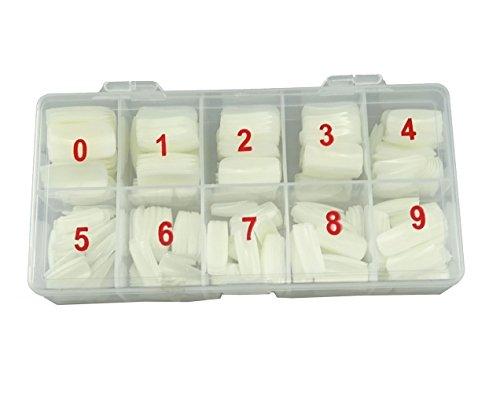Punta de uñas artificiales, 500 unidades, color natural, cubierta completa, puntas de uñas falsas + caja
