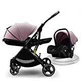 Pivot Modular Travel System with Car Seat High Landscape Infant Stroller Foldable Pushchair with Adjustable Canopy Large Storage Basket Cup Holder 5-Point Harness Suspension Wheels