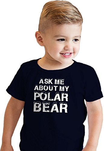 Crazy Dog Tshirts - Toddler Ask Me About My Polar Bear Cool Animal Face Flip Up T Shirt (Blue) - 4T - Baby-Enfant
