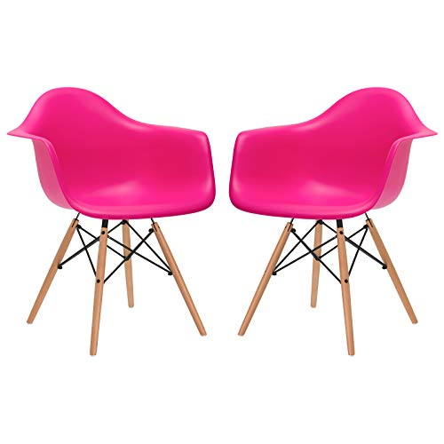 Poly and Bark Modern Mid-Century Vortex Arm Side Chair with Natural Wood Legs for Kitchen, Living Room and Dining Room, Fuchsia (Set of 2)