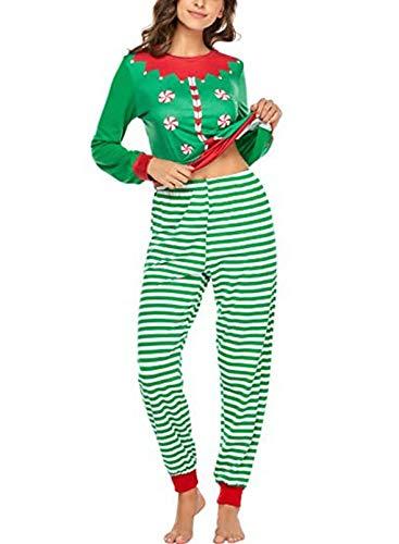 FOBEXISS Pijamas para las Mujeres PJ Conjuntos de Ropa de Dormir Navidad Rayas Único Colorido Acogedor Ropa de Dormir Pijama